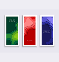 set 3 backgrounds with colorful paper cut vector image