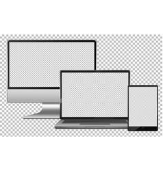 set blank screen electronics gadget computer vector image