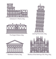Set isolated italy monuments in thin line vector
