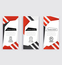 set of business white banners with red black vector image