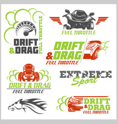 set of car racing emblems and championship race vector image vector image