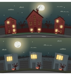 Set of halloween backgrounds for banners vector