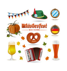 set of icons for beer festival oktoberfest vector image