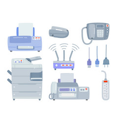 Set of office equipment printer phone vector