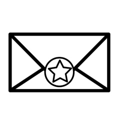 Silhouette envelope with star sticker vector