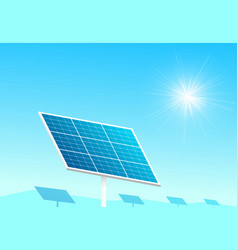 Solar panels in farm with blue sky and sun light vector