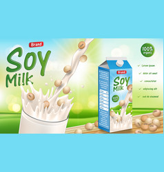 soy milk with splash isolated on sunny bokeh vector image
