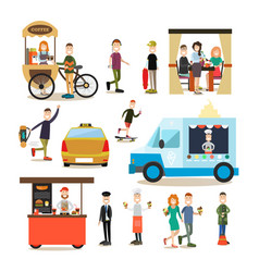 street people flat icon set vector image