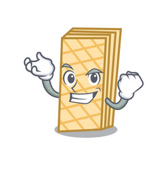Successful waffle character cartoon style vector