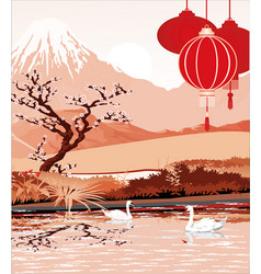 the landscapes - lake of mount fuji in red color vector image