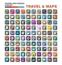 Travel and map icons with long shadow stock vector