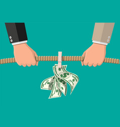 tug war two businessmen pulling rope for money vector image