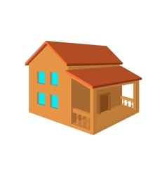 Two-storey house with porch flat icon vector image