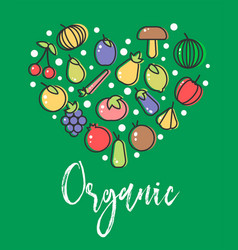 vegetables and organic fruit veggies vegetarian vector image