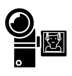 video camera icon black sign vector image