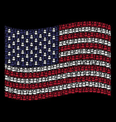 Waving american flag stylization of spy icons vector