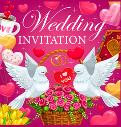 wedding invitation with hearts flowers and gifts vector image