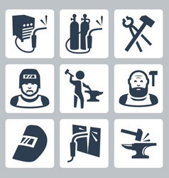 welder and blacksmith icons set vector image