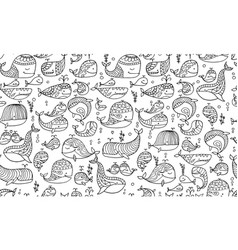 whales collection seamless pattern for your vector image
