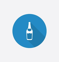 beer bottle Flat Blue Simple Icon with long shadow vector image