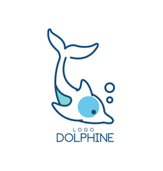 dolphine logo design abstract emblem with diving vector image