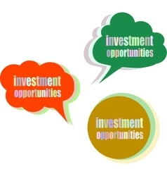 investment opportunities Set of stickers labels vector image