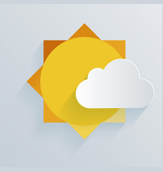 paper sun and cloud background vector image vector image