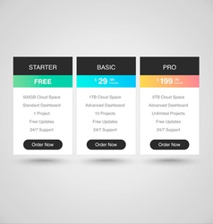 Pricing Tables for Web vector image