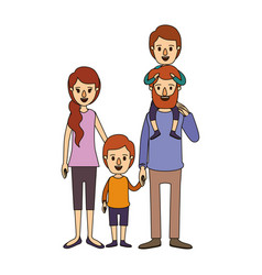 Color image caricature family parents with boy on vector
