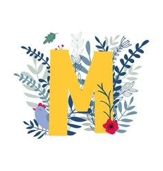 Floral alphabet letter m vector