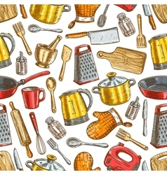 Kitchenware dishware kitchen utensils pattern vector image vector image