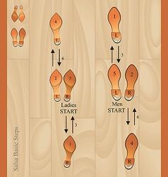 salsa basic steps vector image vector image