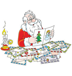 santa claus reading letters vector image vector image