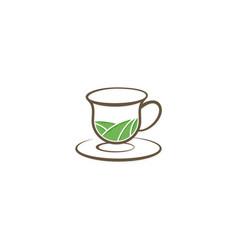 tea organic cup vintage logo vector image vector image