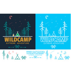 trendy camping logo badge set in outline style vector image