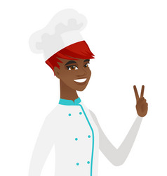 African-american chef cook showing victory gesture vector