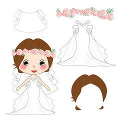 Bride Wedding Dress Costume vector image