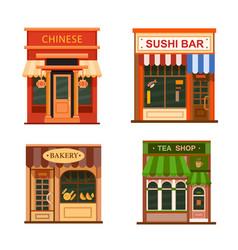 flat shop store icon set vector image