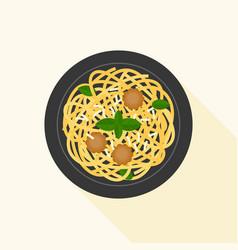 Spaghetti bolognese or meat ball vector