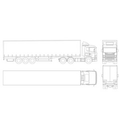 truck trailer outline commercial vehicle vector image