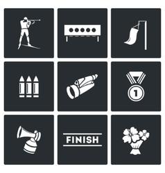 Biathlon icon set vector image vector image