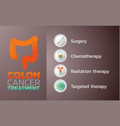 colon cancer treatment icon design infographic vector image