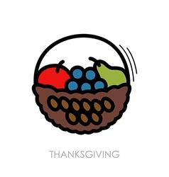 Fruit Basket icon Harvest Thanksgiving vector image