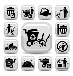 garbage icons set vector image