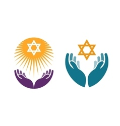 Hands holding Star of David Icon or symbol vector image