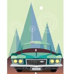 Retro car at mountains vector