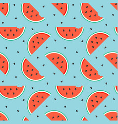 watermelon slices with seeds seamless pattern vector image vector image