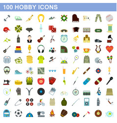 100 hobicons set flat style vector