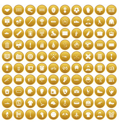 100 mens team icons set gold vector