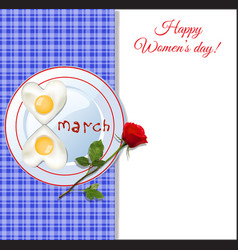 8 march happy womens day template with heart vector image